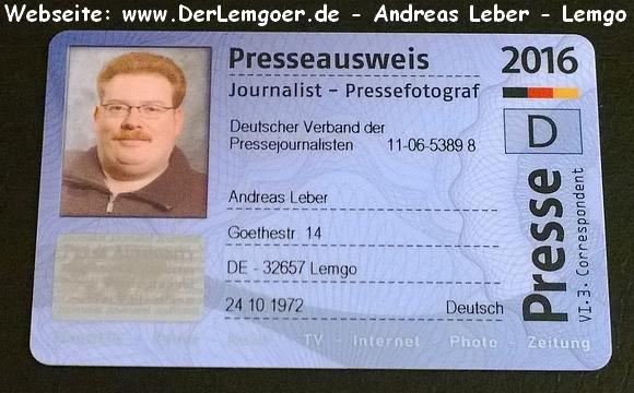 Presseausweis 2016 - Vorderseite